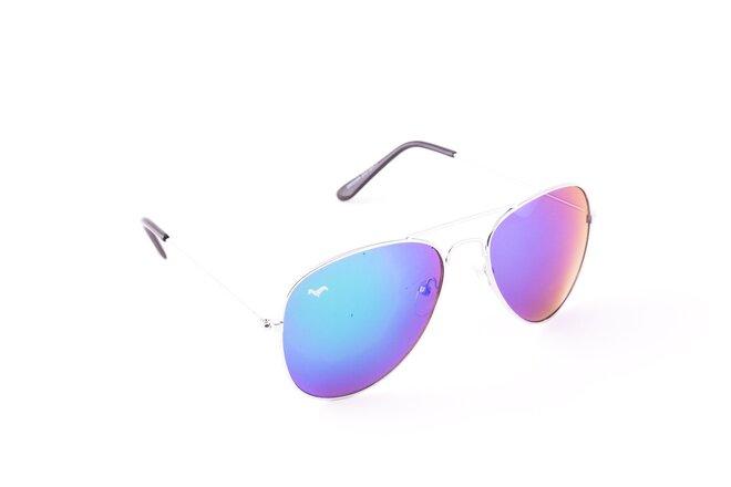 Stříbrné brýle Kašmir Pilot - skla modrá zrcadlová