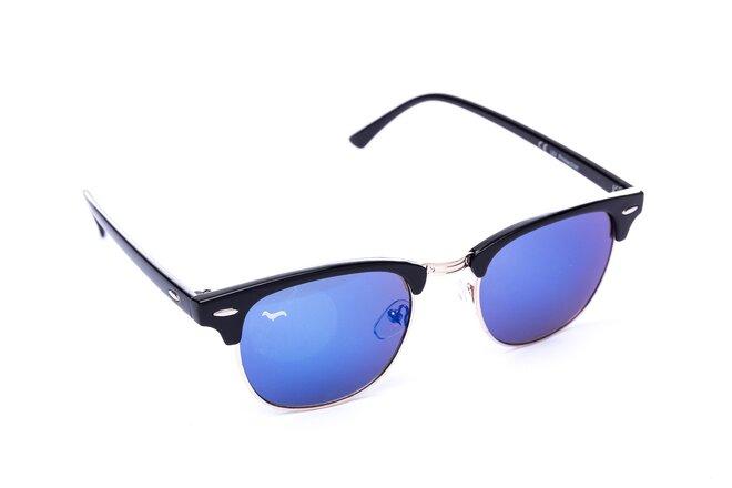 Černé brýle Kašmir Clubmaster - skla modrá zrcadlová