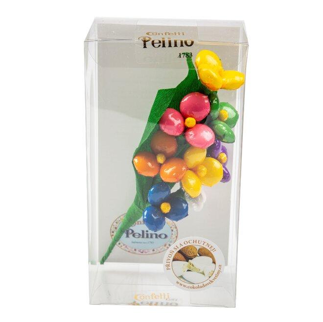 Pestrobarevná kytice v krabičce