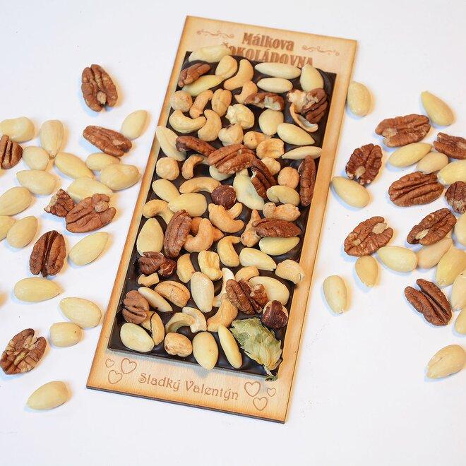 Čokoláda tmavá se směsí ořechů - velká