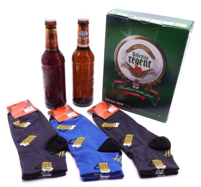 2x pivo + 3 páry kotníkových ponožek