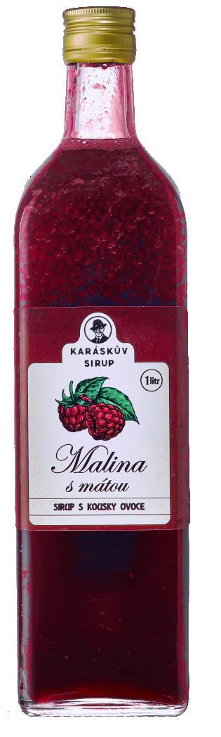 Malinový sirup s mátou a kousky ovoce (1000 ml)