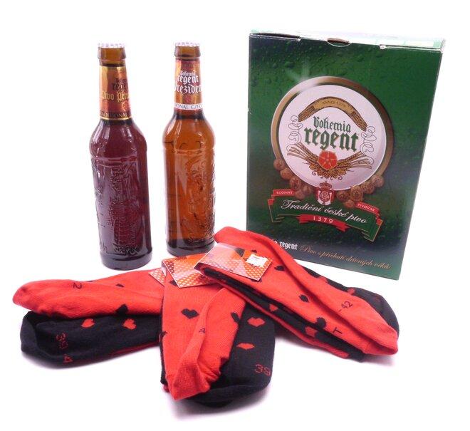 2x pivo + 3 páry ponožek Srdíčka