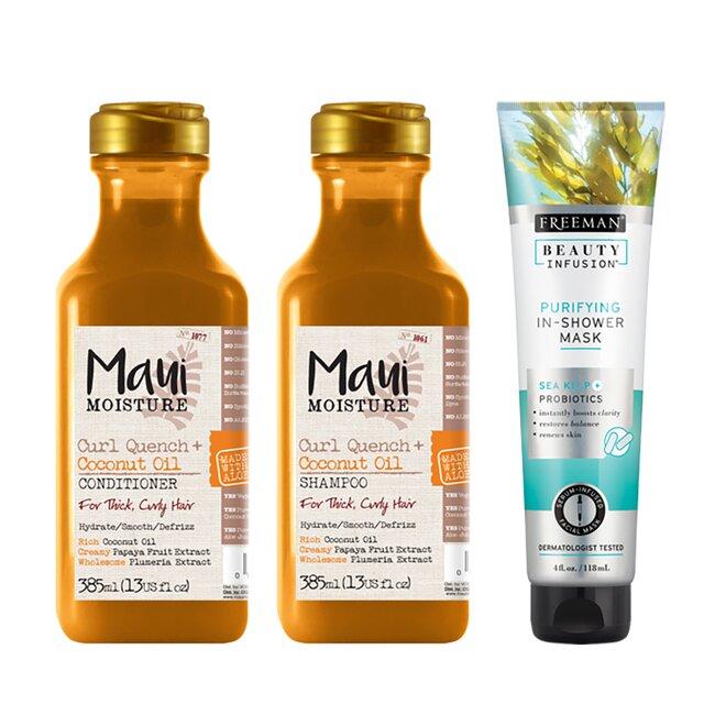 Balíček vlasové kosmetiky pro husté kudrnaté vlasy