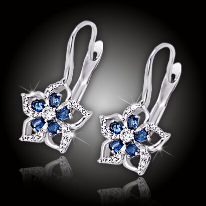 Náušnice Brillance Flower Queen - Royal Blue