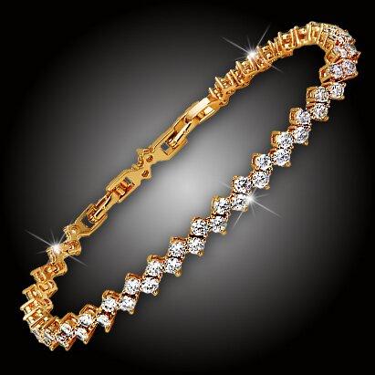 Náramek Ice Queen Gold s třpytivými krystaly