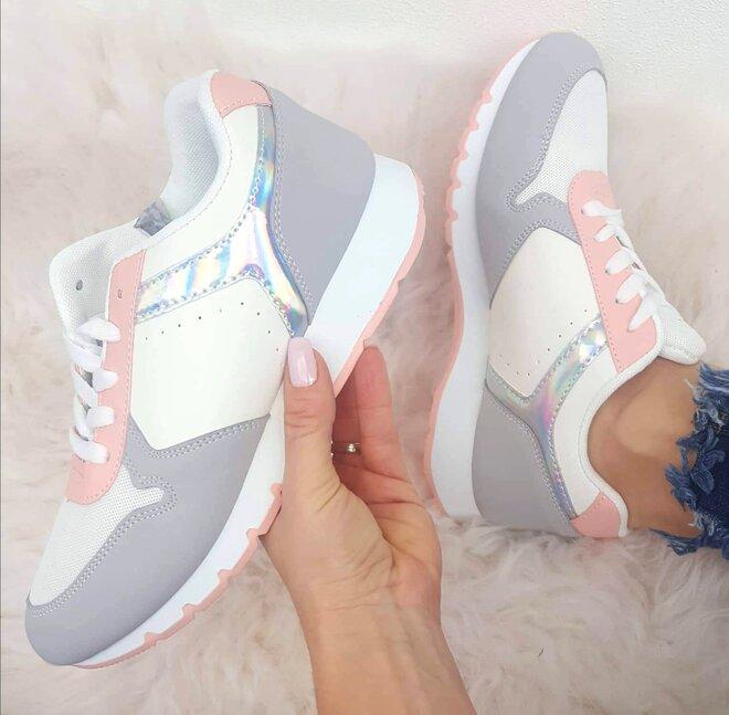 Tenisky světle růžovo/šedé