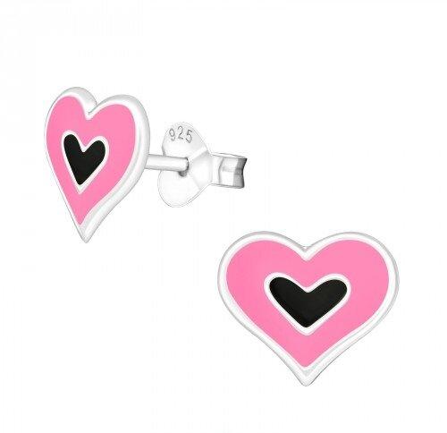 Puzetové náušnice – růžovo-černá srdíčka