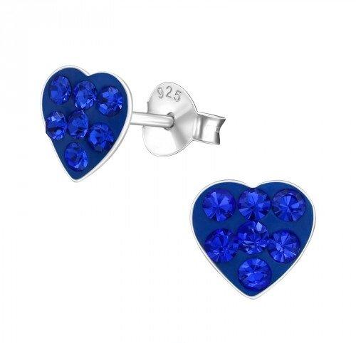 Puzetové náušnice – modrá srdíčka s krystaly