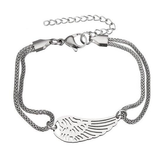 Ocelový náramek s andělským křídlem