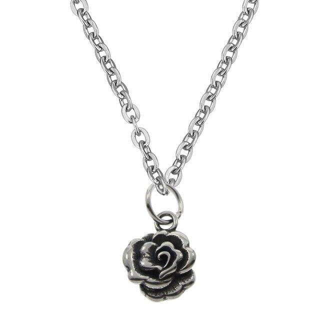 Ocelový řetízek s drobným přívěškem růžičkou