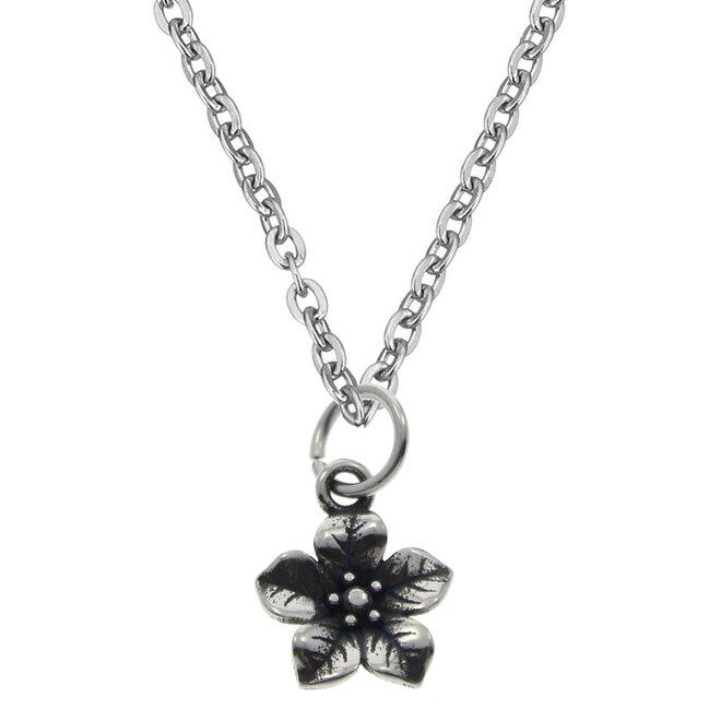 Ocelový řetízek s drobným přívěškem kytičkou
