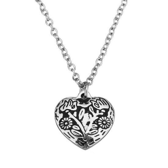 Ocelový řetízek a přívěsek srdce s ornamenty
