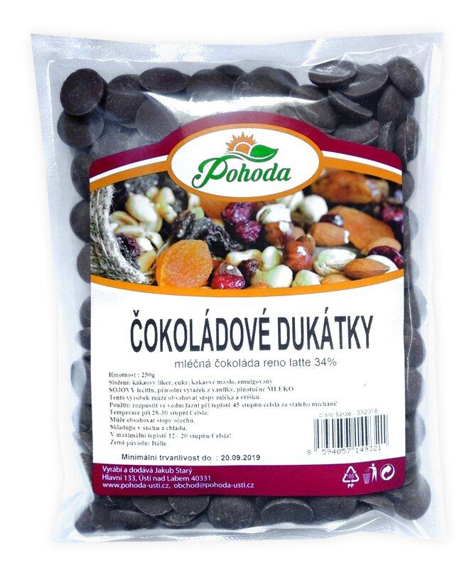 Dukátky z mléčné čokolády (34%), 250 g