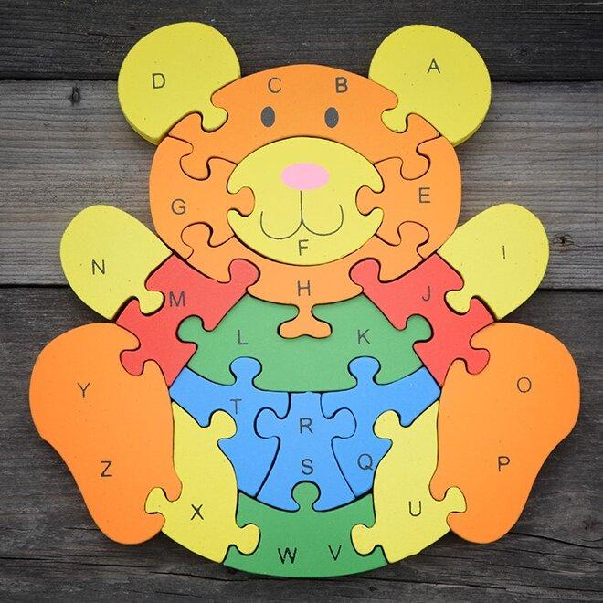 Dřevěné puzzle – Medvídek