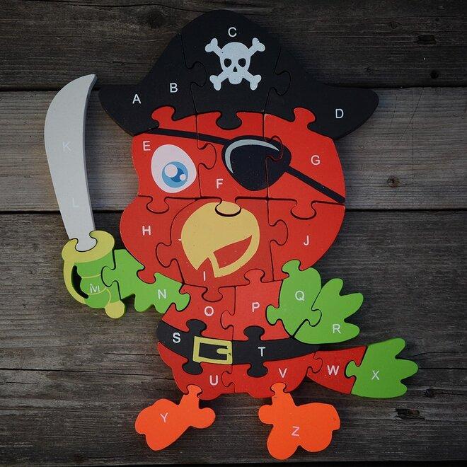 Dřevěné puzzle - Papoušek pirát