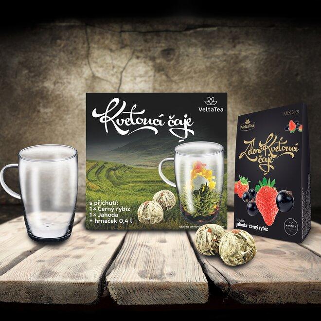 Set 2 prémiových kvetoucích čajů Blooming Tea s hrnečkem (černé balení)