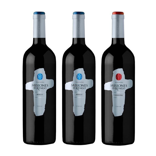 Set 3 lahví dvou typů červeného vína