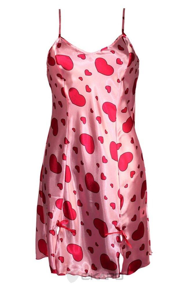 Lina Sweet saténová noční košilka - růžová