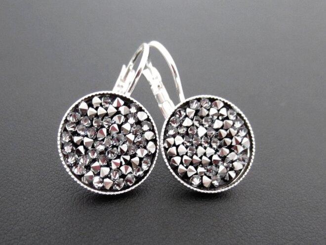 Náušnice visací s krystaly ROCKS, kulaté, stříbřité