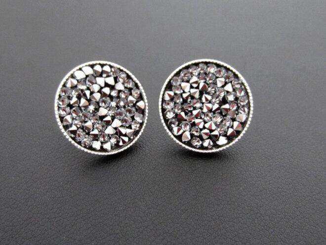 Náušnice pecky s krystaly ROCKS, stříbřité