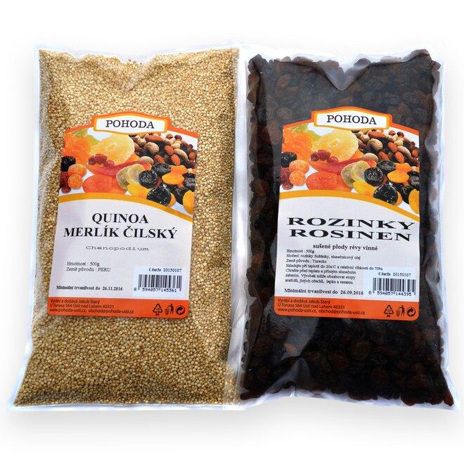 Quinoa bílá, 500 g + Rozinky sultánky, 500 g