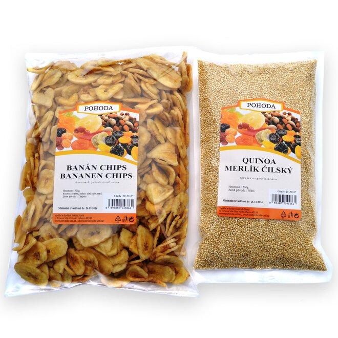 Quinoa, 500 g + banán chips, 500 g