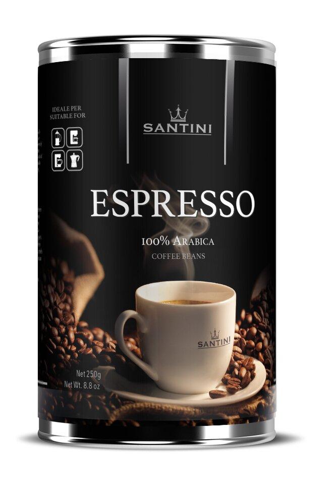 250 g mleté kávy Santini Espresso v plechovce