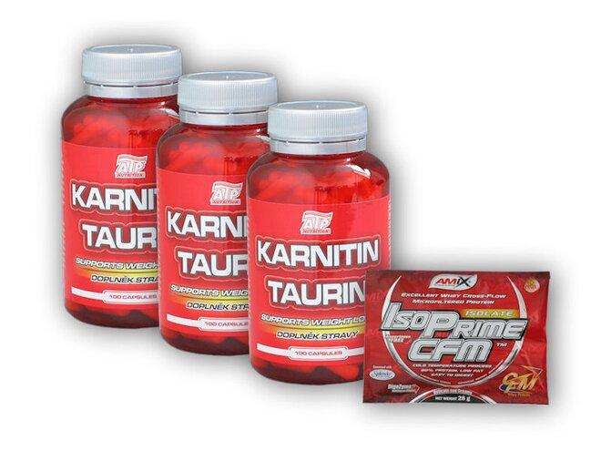 3x Karnitin Taurin 100 kapslí + dárek: IsoPRIME CFM