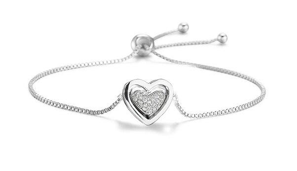 Krásný nastavitelný náramek - Dvojité srdce