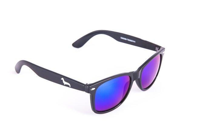 Černé brýle Kašmir Wayfarer W03 - skla modrá zrcadlová