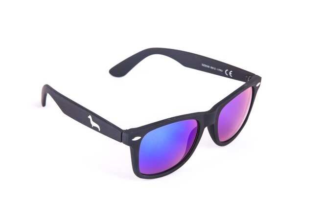 Černé matné brýle Kašmir Wayfarer W10 - skla modrá zrcadlová