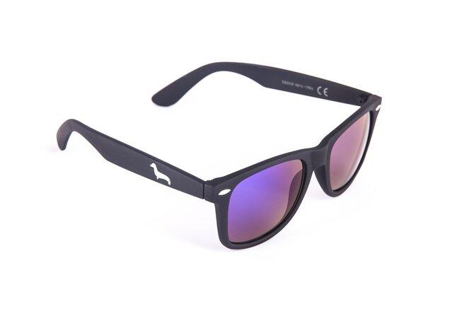 Černé matné brýle Kašmir Wayfarer W11 - skla modro-zelená zrcadlová