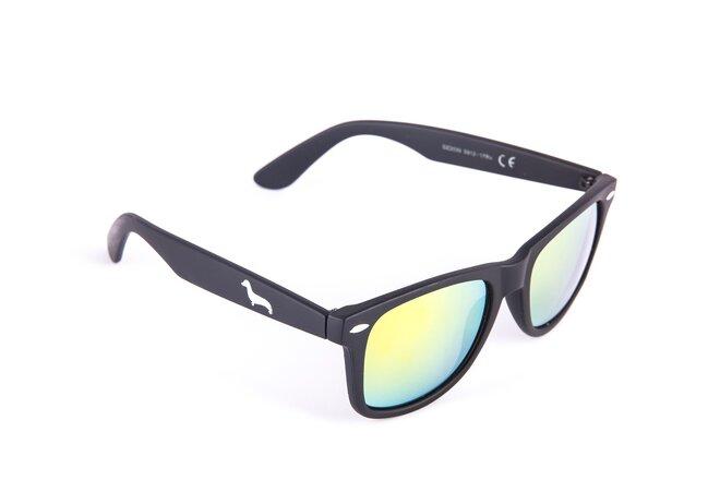 Černé matné brýle Kašmir Wayfarer W09 - skla oranžová zrcadlová