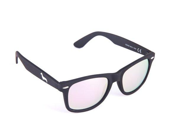 Černé matné brýle Kašmir Wayfarer W12 - skla růžová zrcadlová