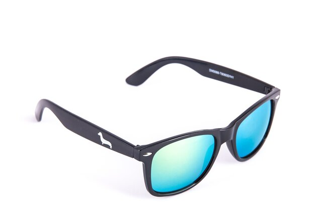 Černé matné brýle Kašmir Wayfarer W13 - skla zelená zrcadlová