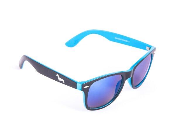 Černo-modré brýle Kašmir Wayfarer W16 - skla modrá zrcadlová