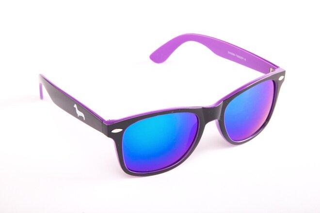 Černo-fialové brýle Kašmir Wayfarer W17 - skla fialová zrcadlová