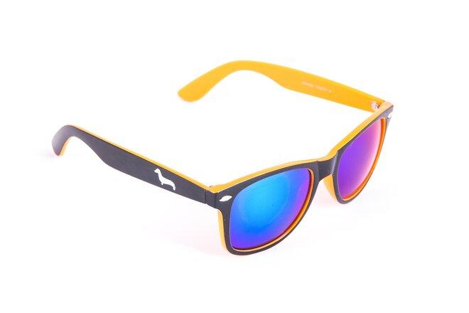 Černo-oranžové brýle Kašmir Wayfarer W18 - skla modrá zrcadlová