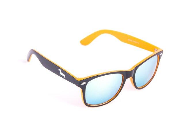 Černo-oranžové brýle Kašmir Wayfarer W19 - skla oranžová zrcadlová
