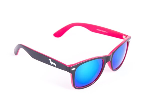 Černo-růžové brýle Kašmir Wayfarer W21 - skla modrá zrcadlová