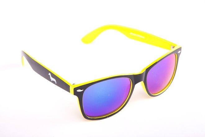 Černo-žluté brýle Kašmir Wayfarer W24 - skla modrá zrcadlová