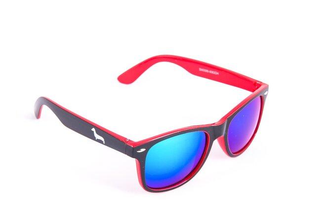Černo-červené brýle Kašmir Wayfarer W25 - skla modrá zrcadlová