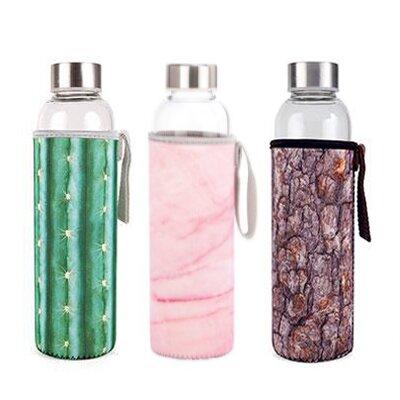 3× skleněná láhev na vodu v neoprenovém obalu