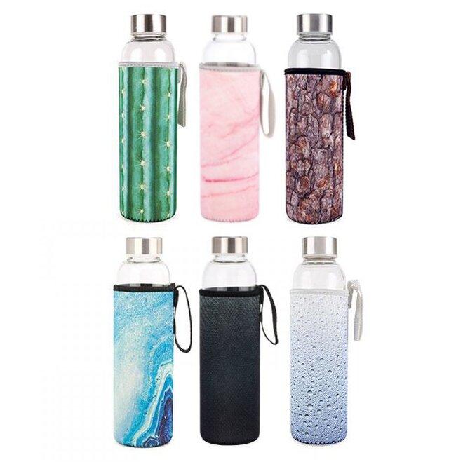 6× skleněná láhev na vodu v neoprenovém obalu