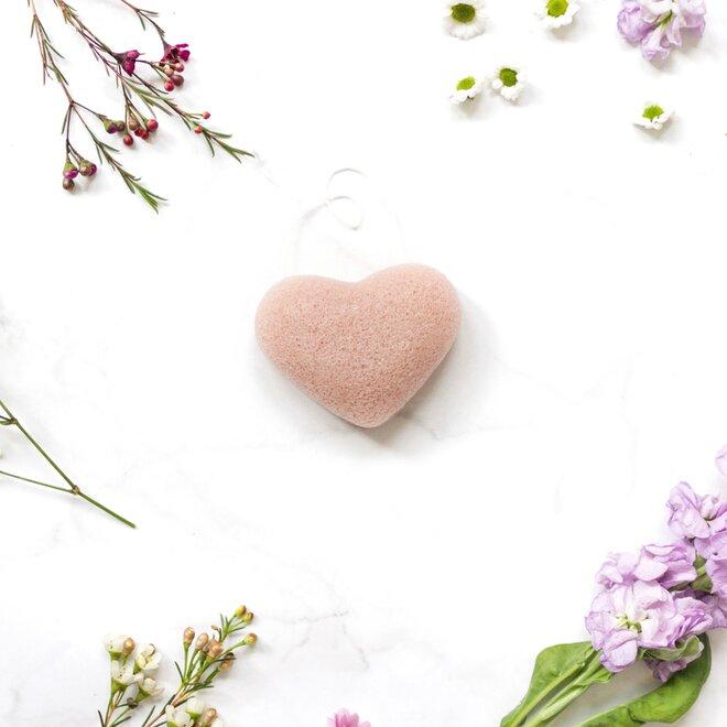 Konjaková houbička ve tvaru srdce - růžový jíl