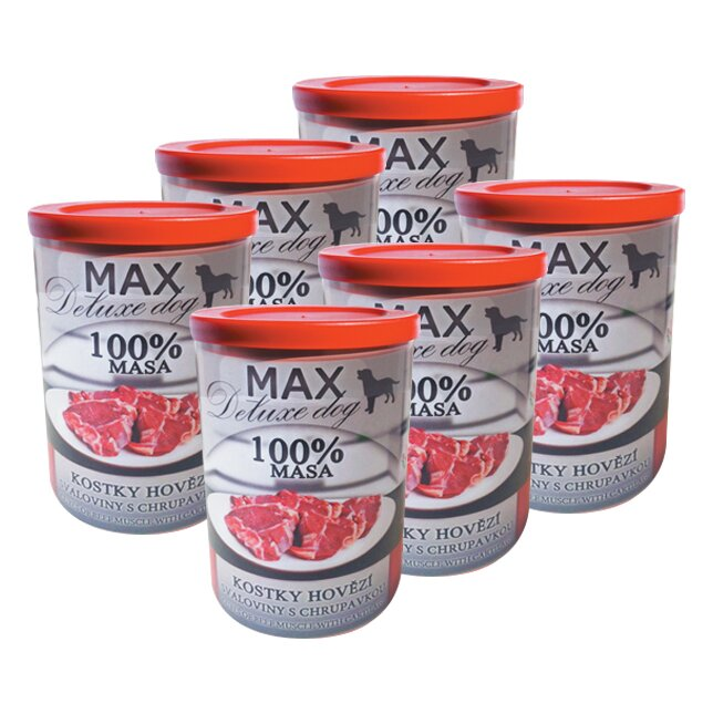 Pro psy: 6x Max kostky hovězí svaloviny s chrupavkou, à 400 g