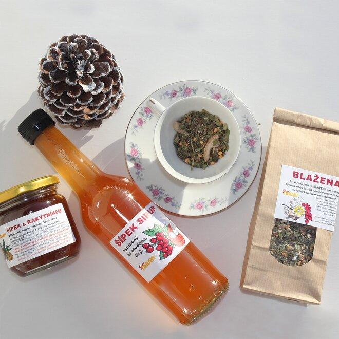 Šípkový balíček: džem, čaj a sirup
