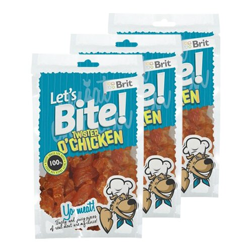 3x Brit Let's Bite! Twister O'Chicken (à 80 g)