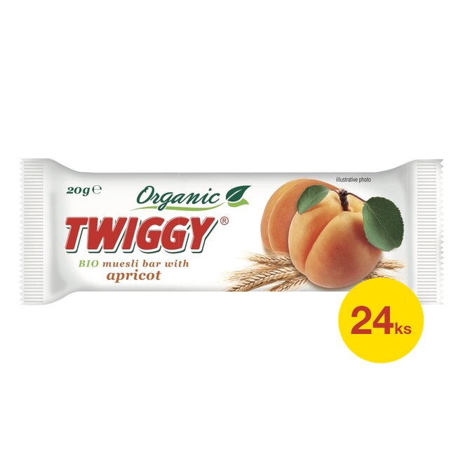 24× Twiggy bio müsli tyčinka s meruňkami